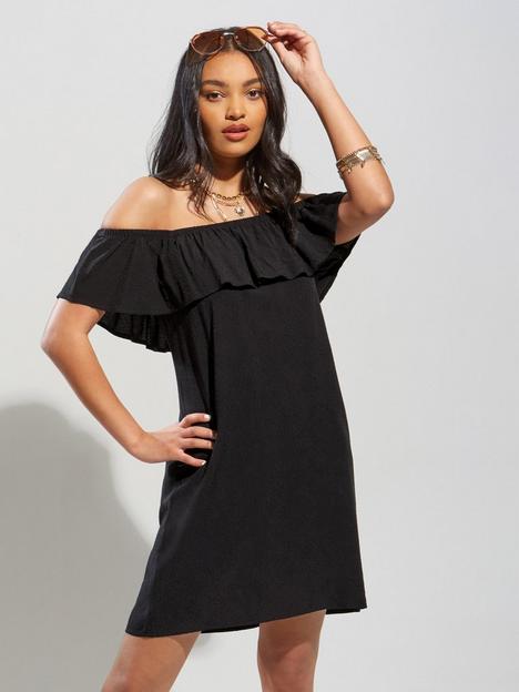 pour-moi-textured-woven-bardot-beach-dress-black