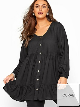 yours-yours-londonnbsplong-sleeve-smock-tier-blouse--nbspblack