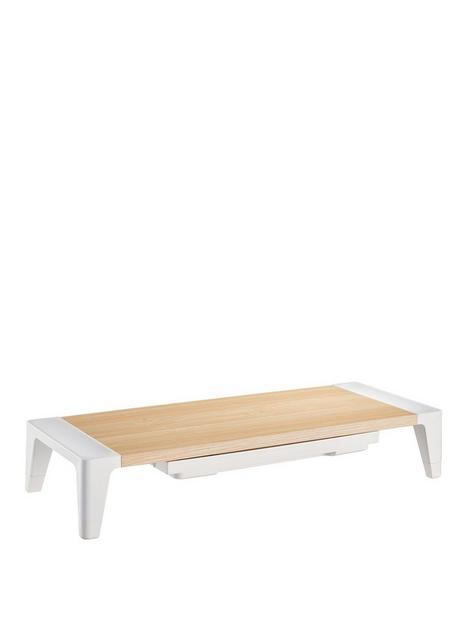 properav-properav-height-adjustable-monitor-riser-stand-with-drawer-wood-effect