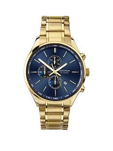 sekonda-sekonda-blue-sunray-dual-time-dial-gold-stainless-steel-bracelet-mens-watch
