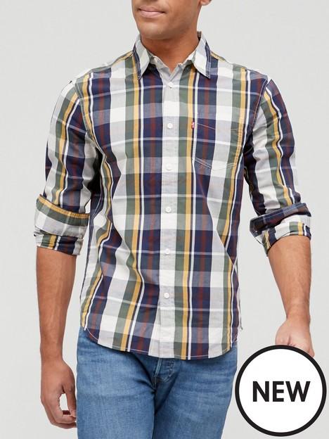 levis-checked-long-sleeve-shirt-greynavy