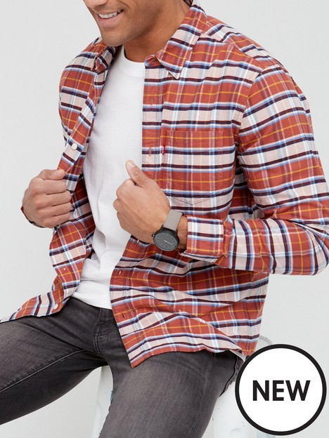 levis-checked-long-sleeve-shirt-greyred