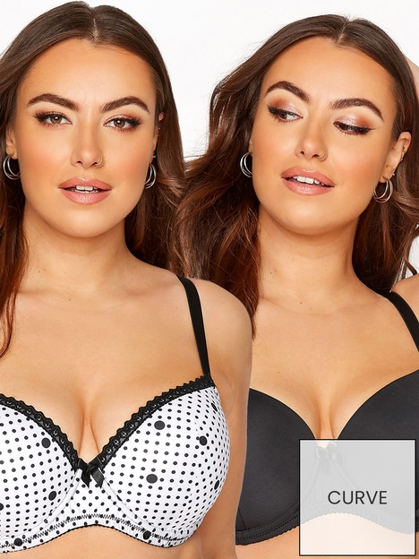 yours-yours-2-pack-mono-spot-t-shirt-bra-black