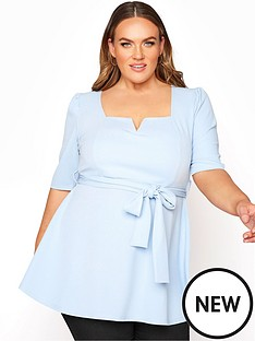 yours-yours-london-notch-neck-peplum-top-blue