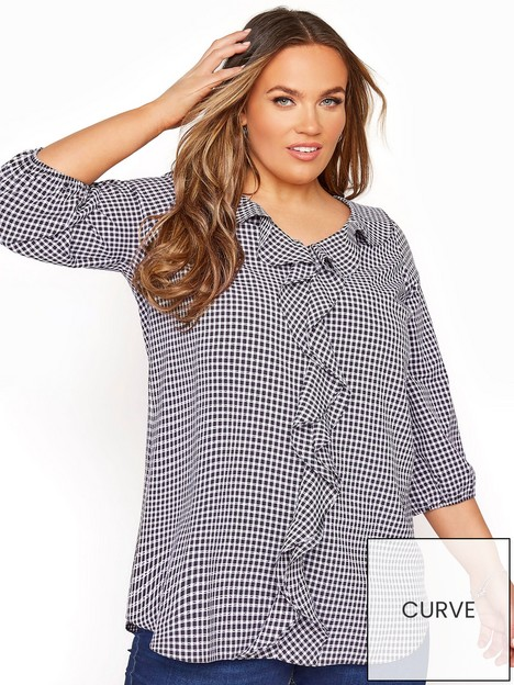 yours-yours-gingham-frill-front-blouse-black