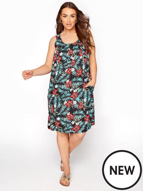 yours-tropical-woven-drape-pocket-dress