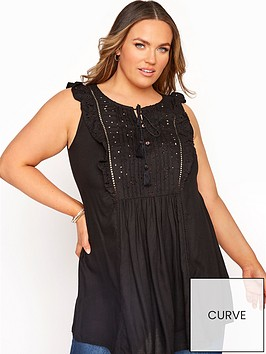 yours-yours-broderie-frill-blouse-black