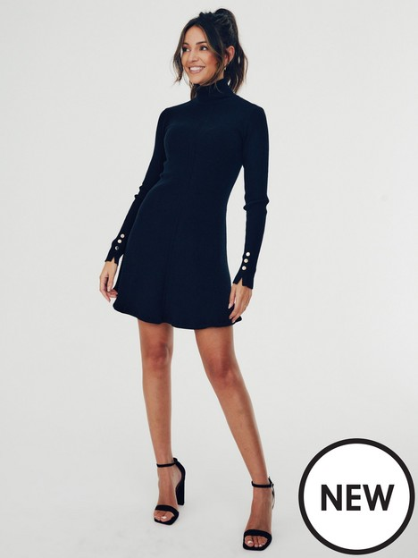 michelle-keegan-high-neck-knitted-skater-dress-black