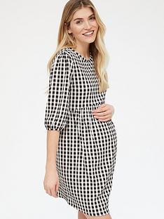 new-look-maternity-check-textured-printed-babydoll-dress-black