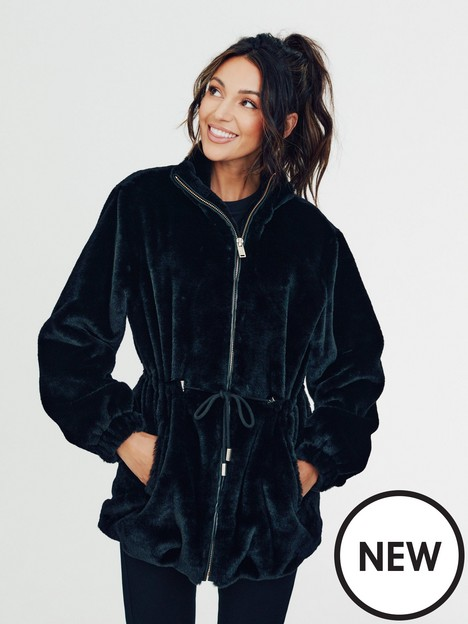 michelle-keegan-drawcord-faux-fur-jacket-black