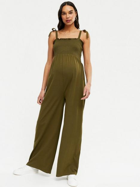 new-look-maternity-shirred-wide-leg-jumpsuit-dark-khaki
