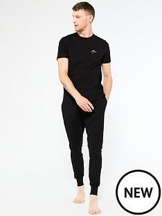 new-look-short-sleevenbspembroiderednbsppj-jogger-set-blacknbsp