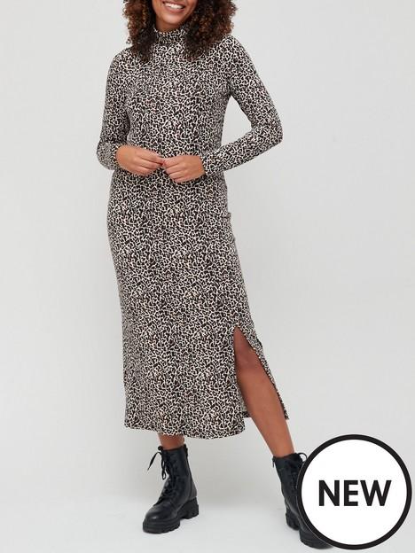 v-by-very-jerseynbspturtle-necknbspmidi-dress-animal-print