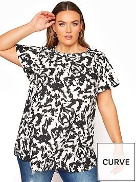 yours-yours-frill-shoulder-short-sleeve-blouse-black