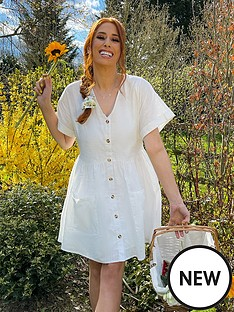 in-the-style-in-the-style-xnbspstacey-solomonnbsplinen-look-flare-button-through-smock-dress-white