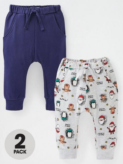 mini-v-by-very-baby-boys-2-pack-joggers-plain-navygrey-with-reindeer-print