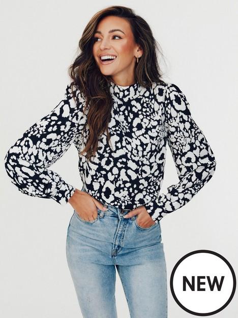 michelle-keegan-high-neck-printed-blouse-monochrome-animal-print