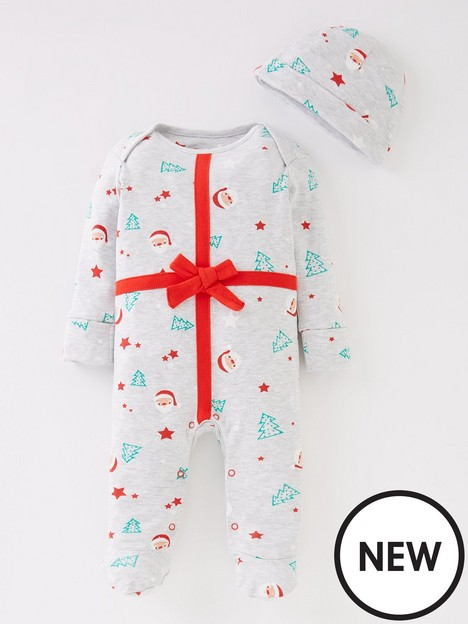mini-v-by-very-baby-unisex-christmas-present-sleepsuit-and-hat-setnbsp--multi