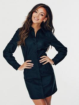 michelle-keegan-faux-leather-pu-shirt-dress-black
