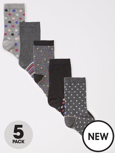 v-by-very-5-pack-spot-and-stripe-print-ankle-socks-multi
