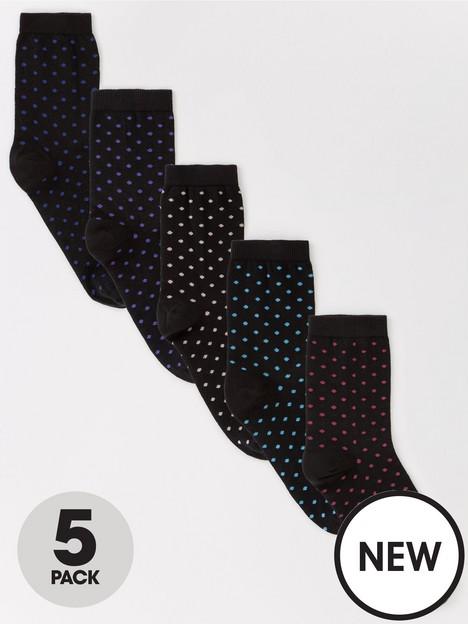 v-by-very-5-pack-spot-print-ankle-socks-black