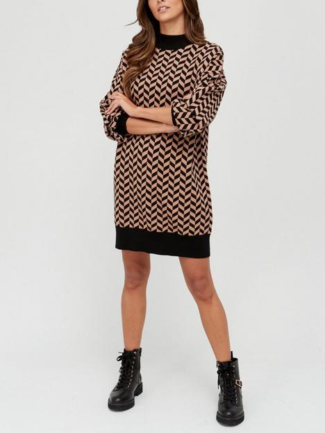 v-by-very-high-neck-cable-jumper-dress-multi
