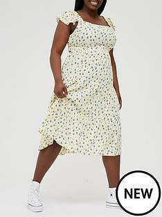 in-the-style-curve-in-the-style-curve-x-jac-jossanbsptiered-midi-dress-with-frill-sleeve-lemon-floralnbsp