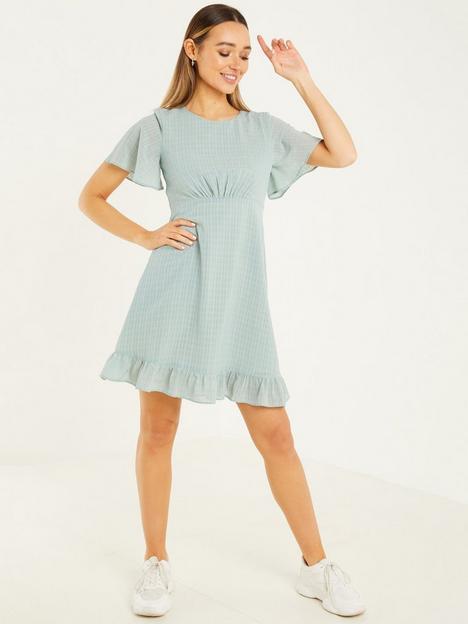 quiz-sage-tonal-check-chiffon-tea-dress