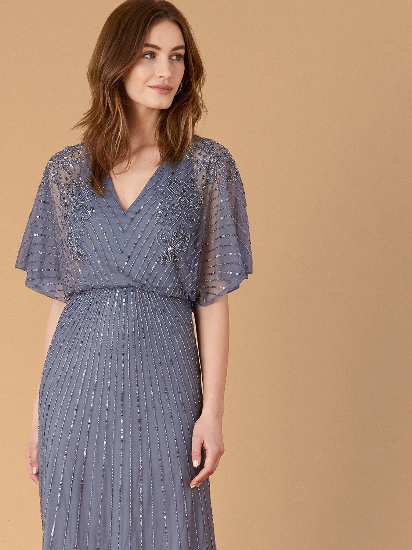 Monsoon Holly Sustainable V-neck Embellished Maxi Dress - Dark Blue