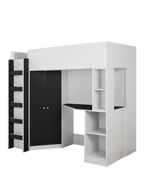 miami-fresh-high-sleeper-with-mattress-options-buy-and-savenbsp-nbspblack