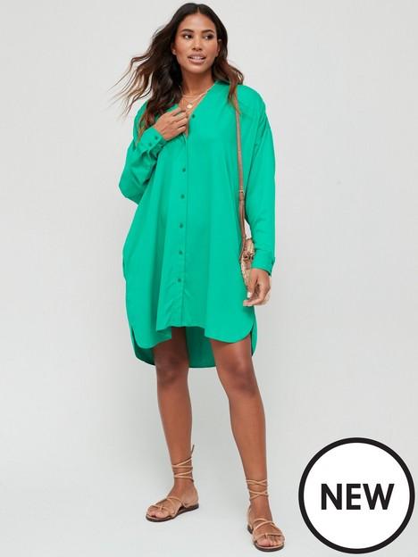 v-by-very-easy-shirt-dress-green