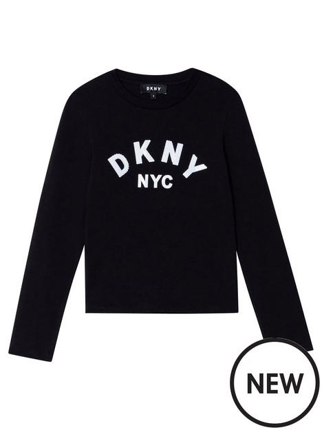 dkny-girls-print-logo-long-sleeve-t-shirt-black