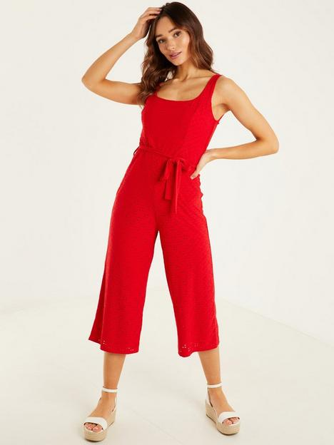 quiz-broderie-anglais-square-neck-culottes-jumpsuit-red