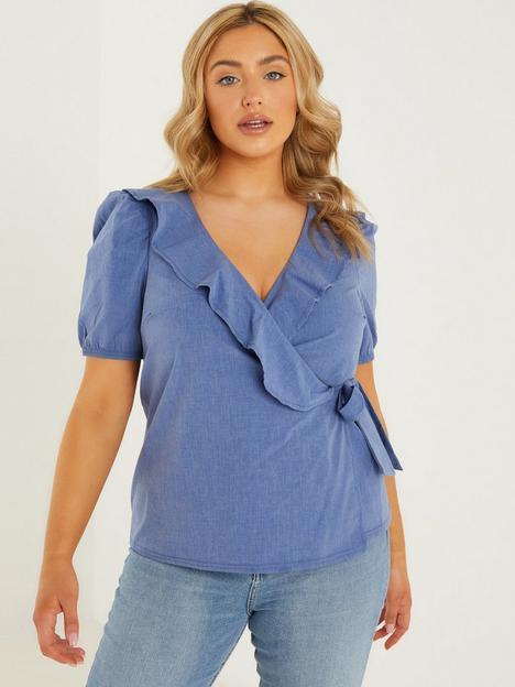 quiz-cotton-wrap-frill-detail-top-blue