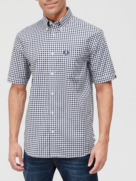 fred-perry-gingham-short-sleeve-shirt-blue