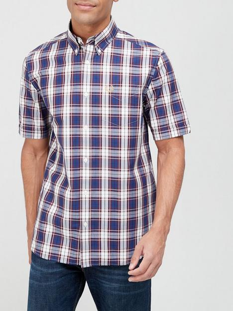 fred-perry-check-short-sleeve-shirt-navy