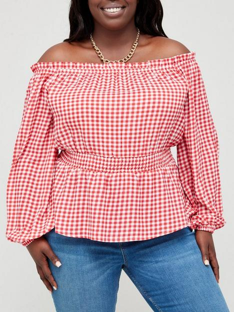 in-the-style-curve-in-the-style-curve-xnbspjac-jossanbspgingham-bardot-top-with-balloon-sleeves--nbsprednbsp