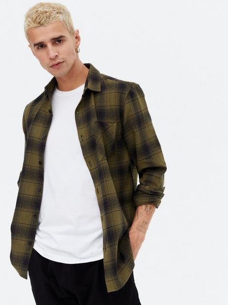 new-look-mens-check-shirt-khaki