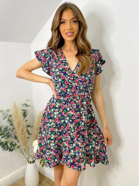ax-paris-frill-sleeve-floral-mini-dress-multi