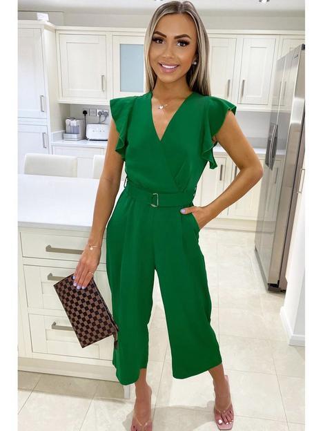 ax-paris-frill-sleeve-culotte-jumpsuit-green