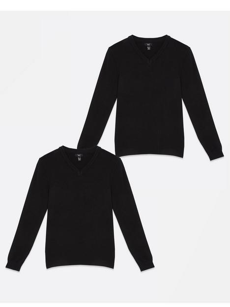 new-look-915-2-pack-v-neck-jumper-black