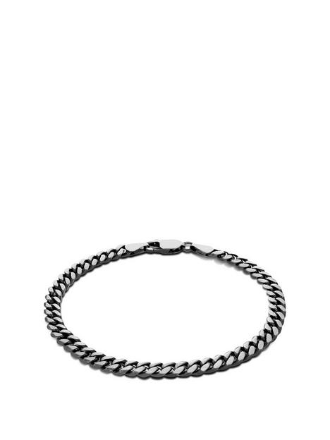the-love-silver-collection-sterling-silver-oxidised-mens-brushed-8-curb-bracelet