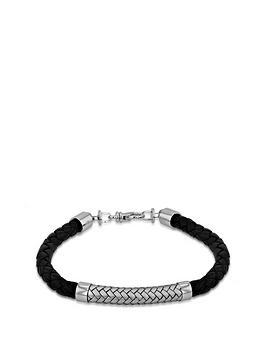 the-love-silver-collection-sterling-silver-rhodium-plated-75mm-black-leather-and-satin-herringbone-bracelet-215cm85
