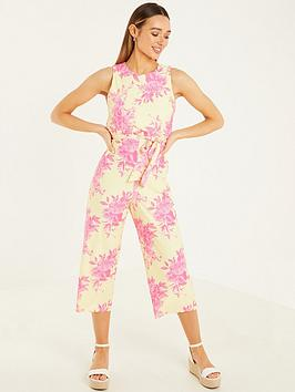 quiz-ity-floral-sleeveless-high-neck-tie-waist-culotte-jumpsuit-yellow