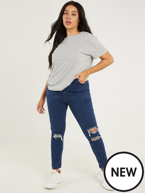 quiz-curve-high-waist-ripped-skinny-jeans-rinse