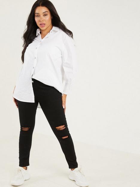 quiz-curve-high-waist-ripped-skinny-jeans-black