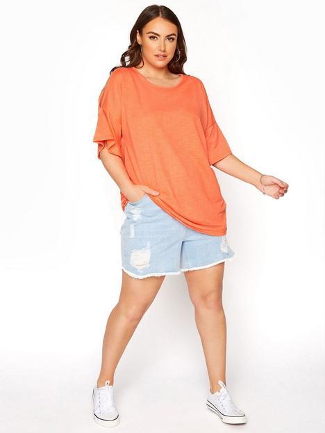 yours-cold-shoulder-t-shirt-orange