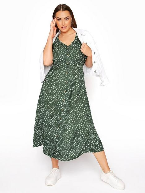 yours-yours-limited-ltd-maxi-tea-dress-ruched-sleeve-dusky-sage-ditsy