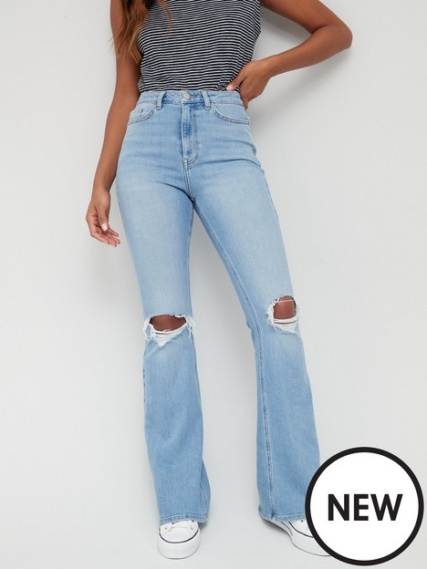 v-by-very-thenbsphigh-waist-forever-flare-jean-with-rips-mid-washnbsp