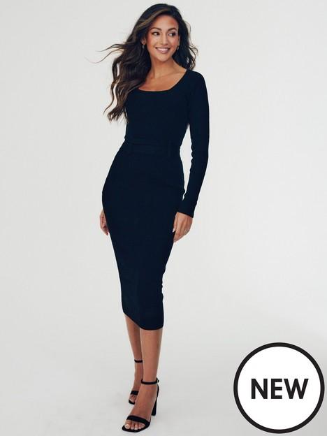 michelle-keegan-knitted-tie-detail-midi-dress-black